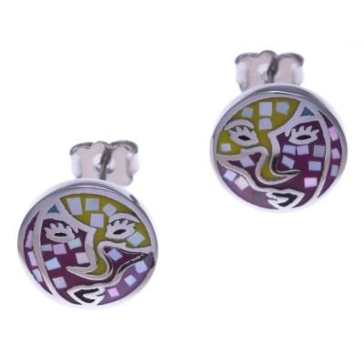 Boucles d'oreilles femme en acier, émail et nacre - Carnaval - Lyn&Or Bijoux