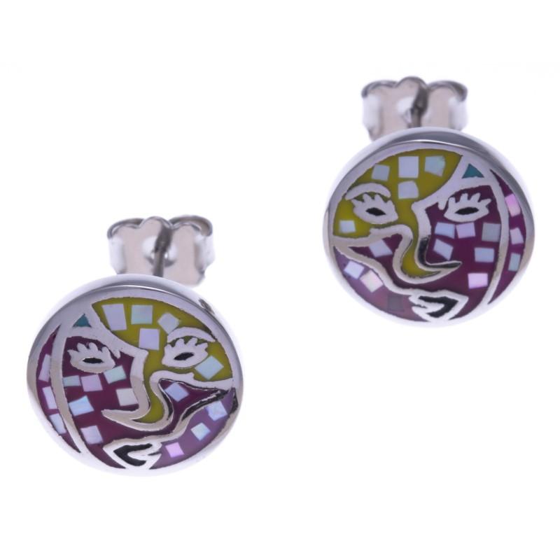 Boucle d'oreille femme, acier & émail coloré, Carnaval, création Odena