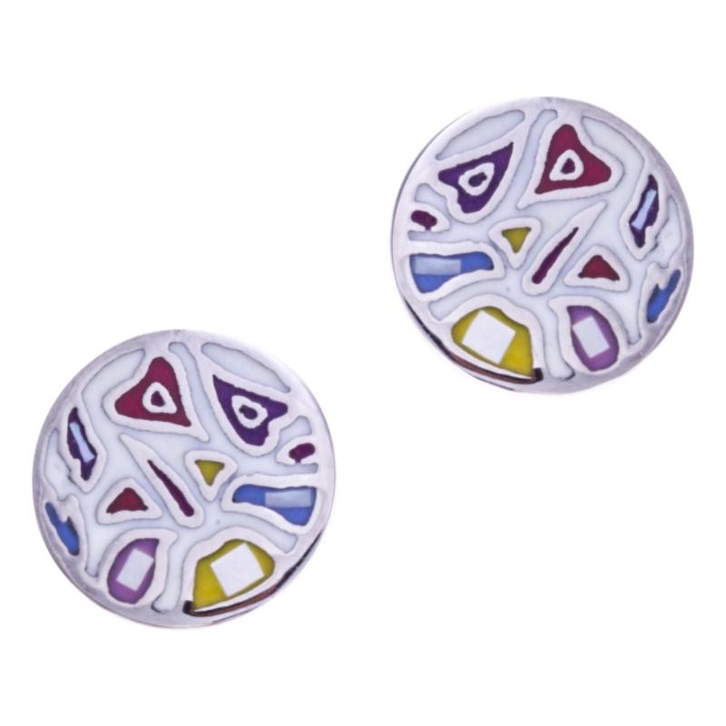 Boucles d'oreilles pour femme en acier, émail, Légèreté, création Odena
