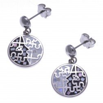 Boucles d'oreilles femme en acier, émail et nacre - Puzzle - Lyn&Or Bijoux
