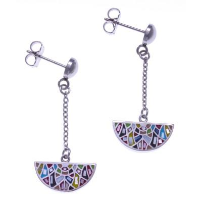 Boucles d'oreilles femme en acier, émail multicolore - Bengal - Lyn&Or Bijoux