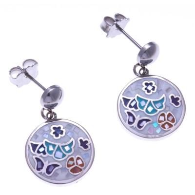Boucles d'oreille femme en nacre, acier et émail - Papillon - Lyn&Or Bijoux