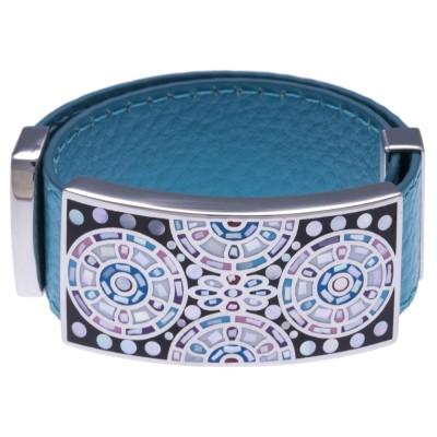 Bracelet amovible en cuir bleu et acier pour femme - Sygma