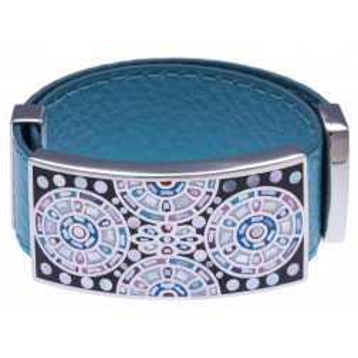 Bracelet tendance en cuir bleu pour femme, créateur Odena