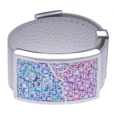 Bracelet amovible, cuir blanc, acier et émail rose et bleu - Enigme
