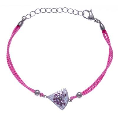 Bracelet cordon en acier, émail et nacre pour femme - Douceur - Lyn&Or Bijoux
