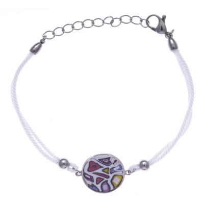 Bracelet de créateur: cordon, acier, émail pour femme, marque odena