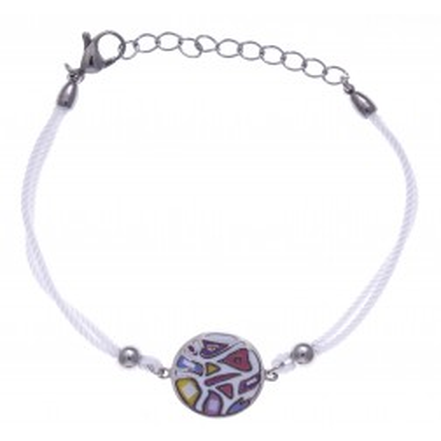 Bracelet cordon en acier, émail et nacre pour femme - Légèreté