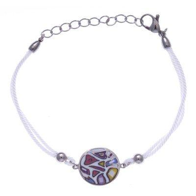 Bracelet cordon en acier, émail et nacre pour femme - Légèreté - Lyn&Or Bijoux