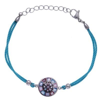 Bracelet cordon en acier, émail et nacre pour femme - Sygma - Lyn&Or Bijoux