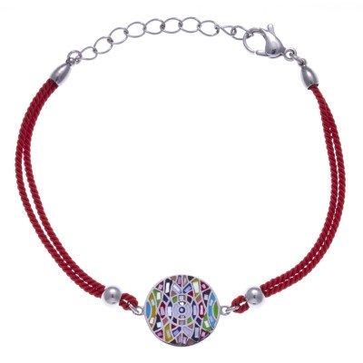 Bracelet cordon en acier, émail multicolore pour femme - Bengal - Lyn&Or Bijoux