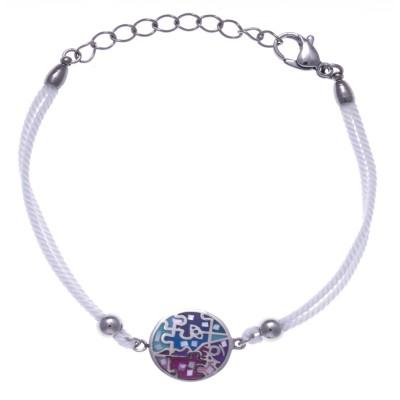 Bracelet cordon en acier, émail rose et bleu, nacre, marque odena
