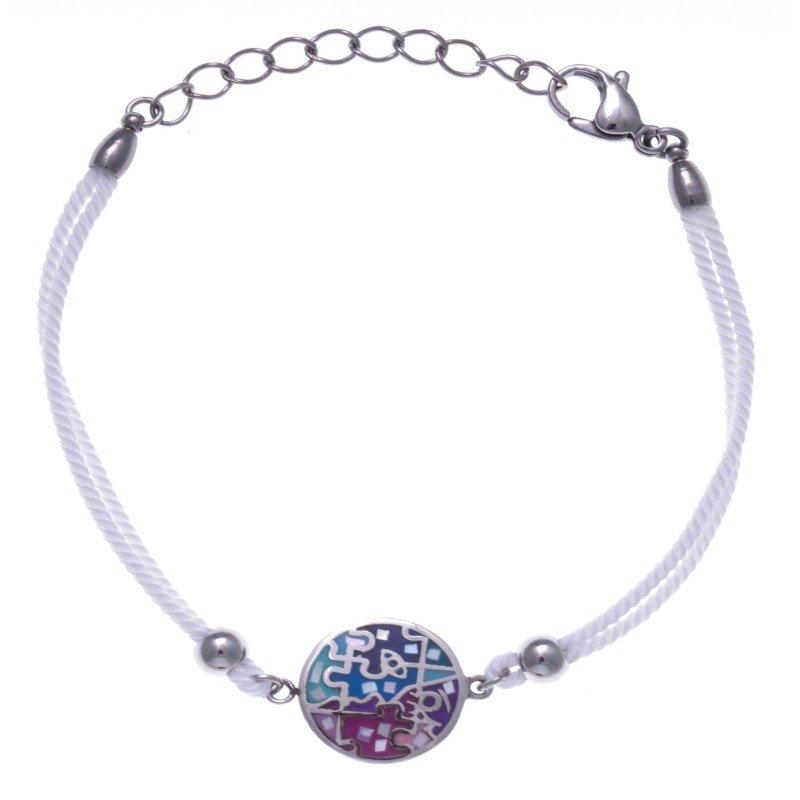 Bracelet cordon en acier, émail rose et bleu, nacre pour femme - Enigme - Lyn&Or Bijoux