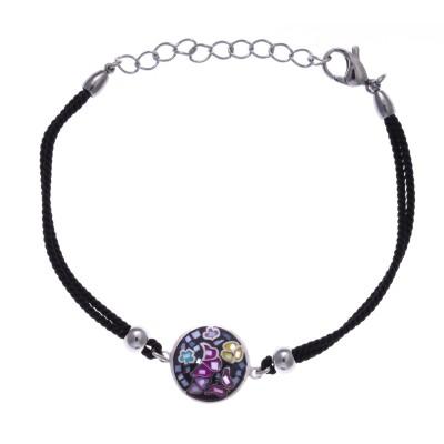 Bracelet cordon Odena, acier, émail noir, Papillon