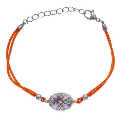 Bracelet tendance pour femme, cordon orange, émail, acier et nacre, Marque Odena
