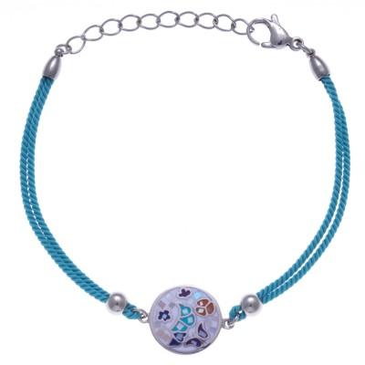 Bracelet en acier, émail avec cordon bleu pour femme - Papillon - Lyn&Or Bijoux