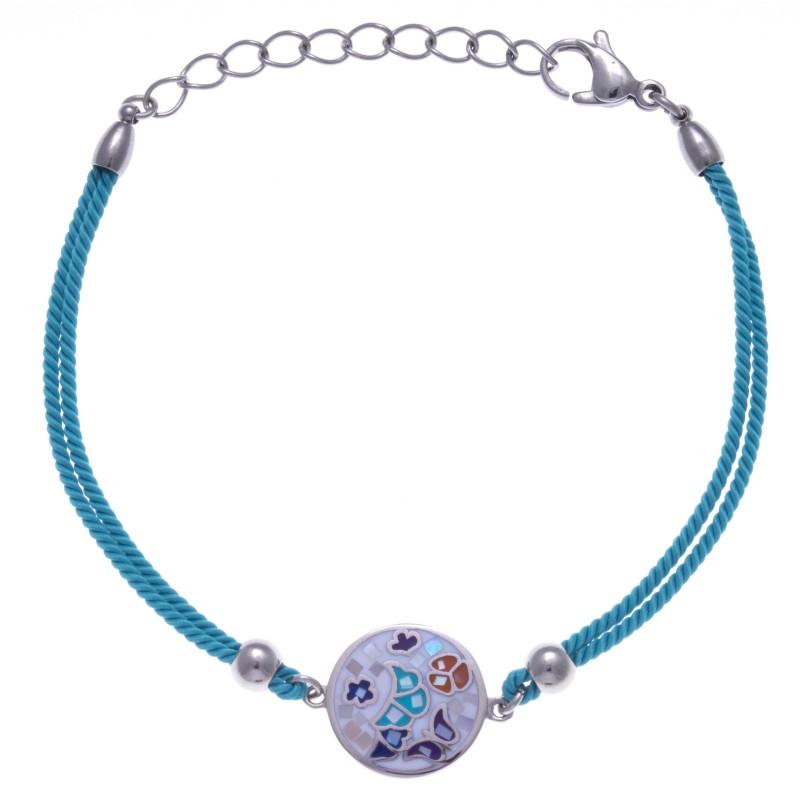 Bracelet bleu & nacre pour femme: Bijou créateur Odena