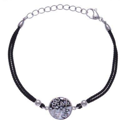 Bracelet en acier, émail avec cordon noir pour femme - Puzzle - Lyn&Or Bijoux