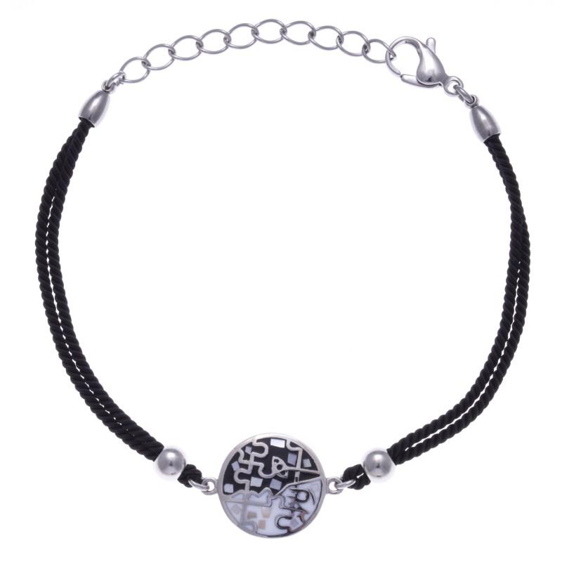 Bracelet en acier, émail avec cordon orange, Eden, marque odena