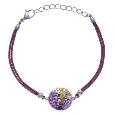 Bracelet en acier, émail avec cordon rose - Carnaval - Lyn&Or Bijoux