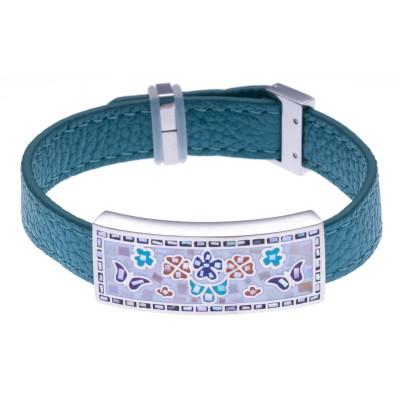 Bracelet modulable en cuir bleu et acier pour femme - Papillon - Lyn&Or Bijoux