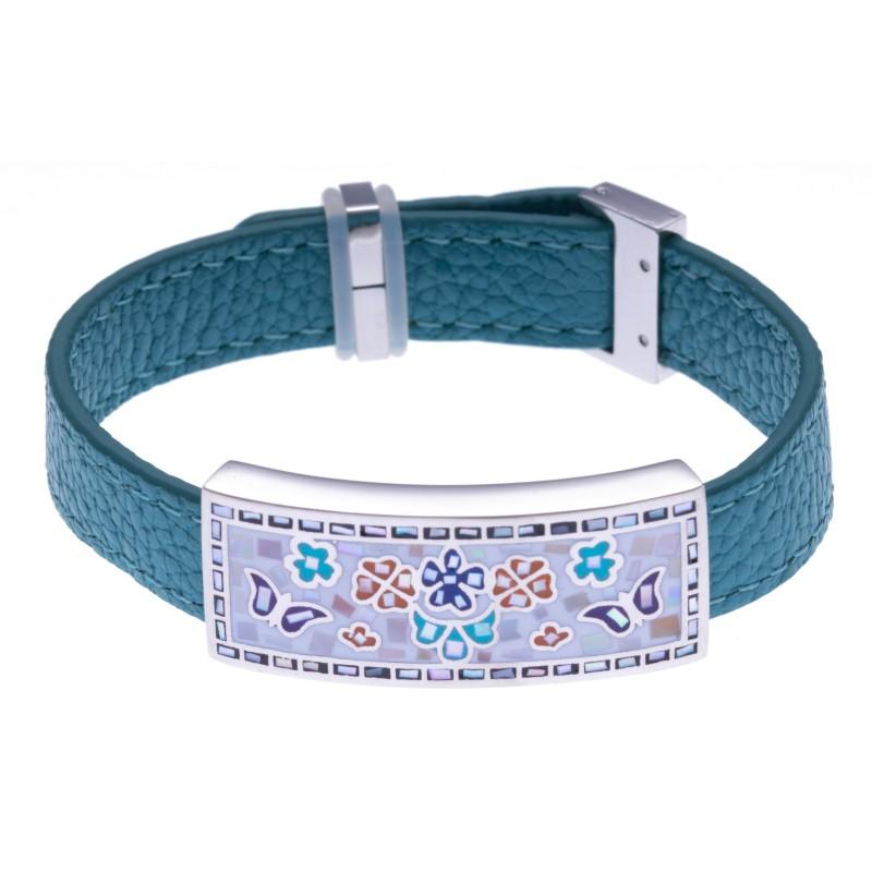 Bracelet modulable en cuir bleu et acier, Papillon, marque odena