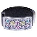 Bracelet cuir Odena, acier, émail noir, Papillon