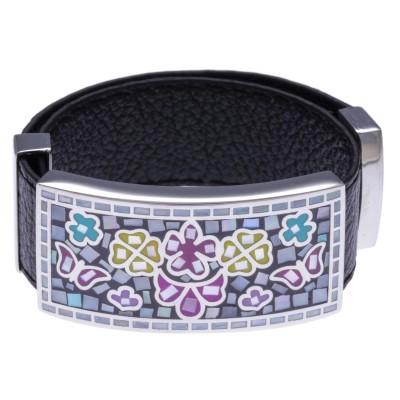 Bracelet modulable en cuir et acier Odena pour femme - Papillon