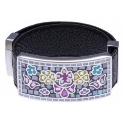 Bracelet femme, cuir noir & décor modulable multicolore - Odena - Lyn&Or Bijoux