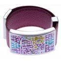 Bracelet modulable en cuir fuschia et acier, Carnaval, marque odena