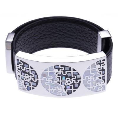 Bracelet modulable Odena pour femme, cuir noir + acier