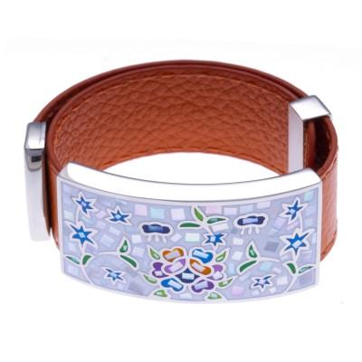 Bracelet femme, cuir orange modulable, Jardin Nacré - Odena - Lyn&Or Bijoux