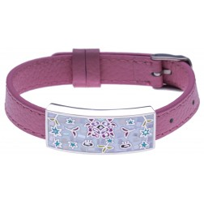 Bracelet modulable en cuir rose et acier Odena