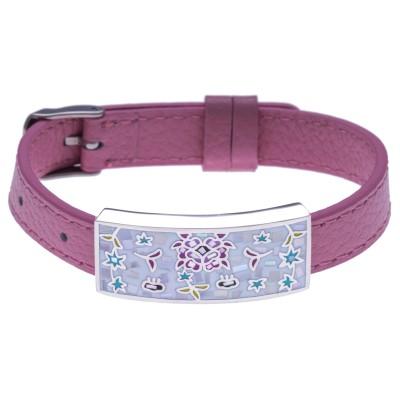 Bracelet modulable en cuir rose et acier Odena pour femme - Douceur - Lyn&Or Bijoux