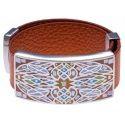 Bracelet cuir orange, émail et acier, marque Odena