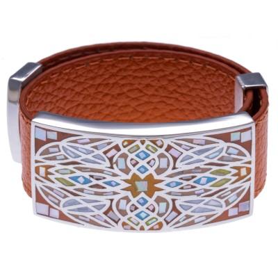Bracelet modulable en cuir, émail et acier pour femme, marque Odena - Vanita