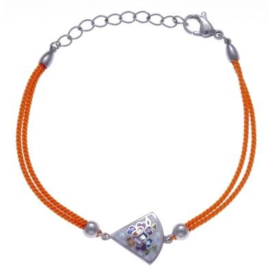 Bracelet Odena en acier, émail avec cordon orange - Eden