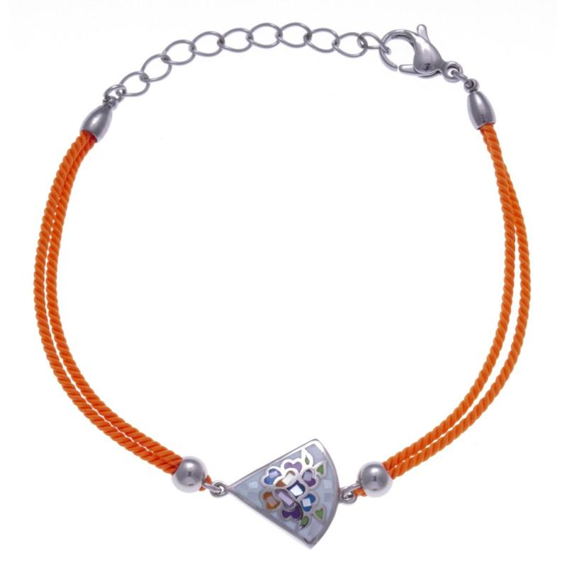 Bracelet Odena en acier, émail avec cordon orange pour femme - Eden - Lyn&Or Bijoux