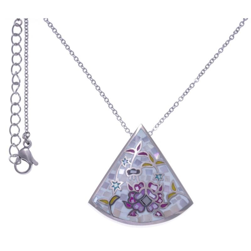 Collier femme, pendentif fleur en acier, émail, nacre, marque odena