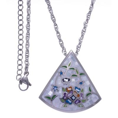 Collier femme, pendentif en acier, émail et nacre - Eden - Lyn&Or Bijoux