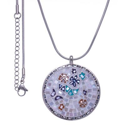 Collier femme, pendentif en acier, émail et nacre - Papillon - Lyn&Or Bijoux