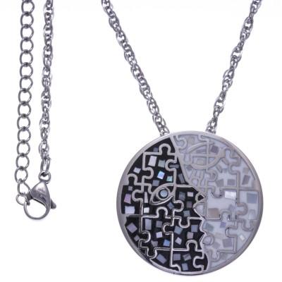 Collier femme, pendentif en acier, émail et nacre - Puzzle - Lyn&Or Bijoux