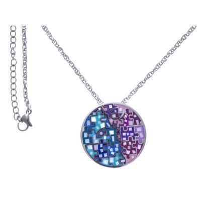 Collier femme, pendentif en acier, émail rose et bleu, nacre - Enigme - Lyn&Or Bijoux