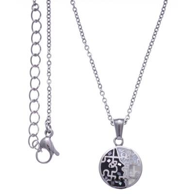 Collier femme, petit pendentif en acier, émail et nacre - Puzzle - Lyn&Or Bijoux