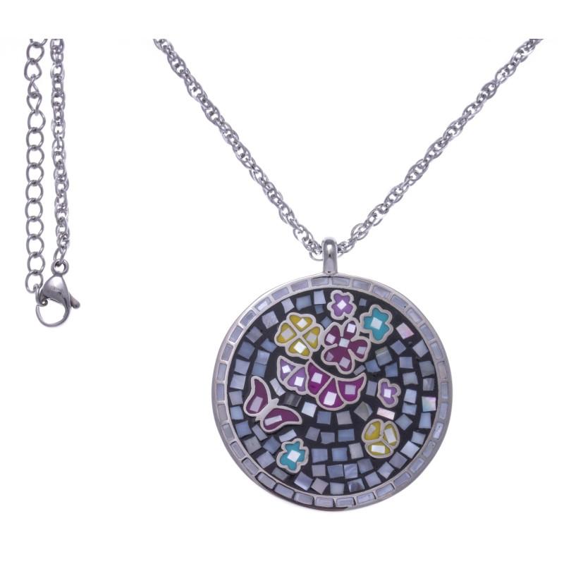 Collier Odena et pendentif en acier, émail, nacre pour femme - Papillon - Lyn&Or Bijoux