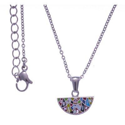Collier ras-de-cou en acier et émail multicolore pour femme - Bengal - Lyn&Or Bijoux