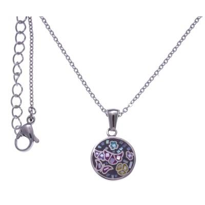 Collier ras-de-cou, pendentif acier, émail, nacre pour femme - Papillon - Lyn&Or Bijoux