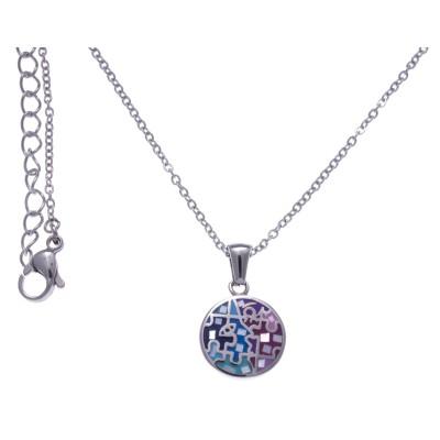 Collier ras-de-cou, pendentif en acier, émail rose et bleu, nacre - Enigme