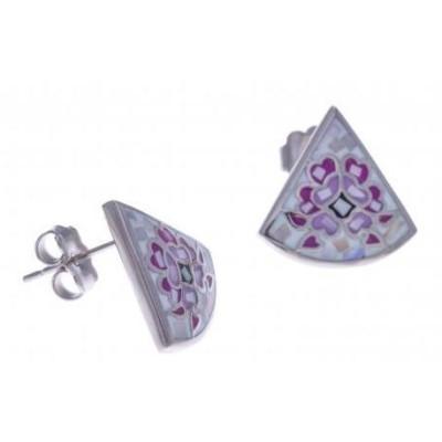 Boucles d'oreilles femme en acier, émail et nacre - Douceur