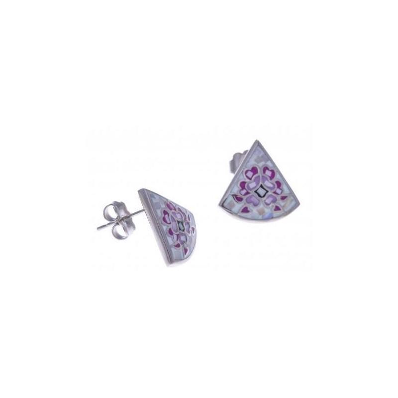 Boucles d'oreilles femme en acier, émail et nacre - Douceur - Lyn&Or Bijoux